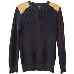 J. Crew Navy Sweater w/ Leather Shoulder Patches